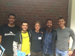 BioBikeSalut con Lotte Kraus y Michael Fuhrmeister parte del equipo creador de gebioMized, centro e izquierda. Javier Romero y Juan Aparicio de ergocycling ibérica, derecha y centro.